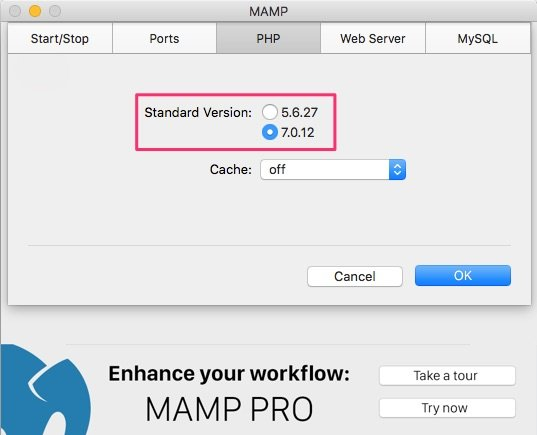 MAMP PHP 7 settings