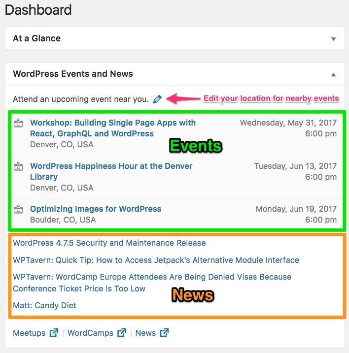 Dashboard widget with WordPress events & news