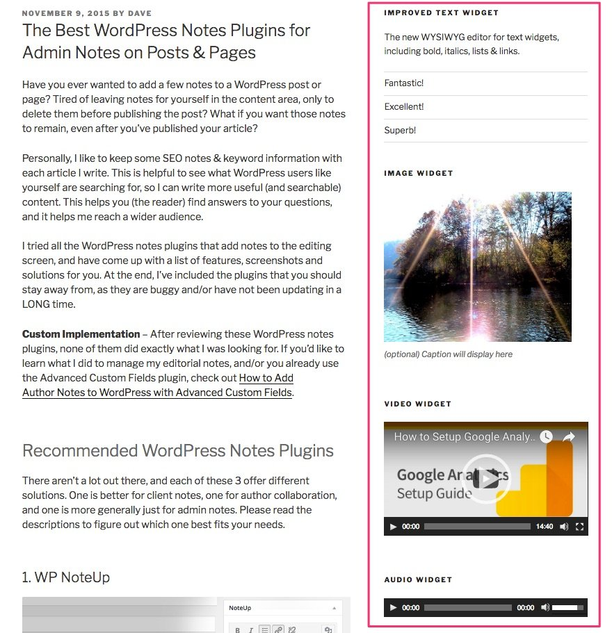 WordPress 4.8's new media widgets