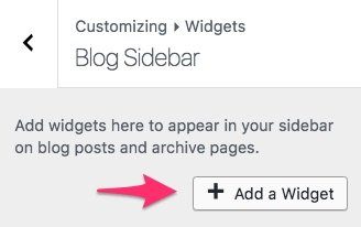 "WordPress ""add a widget"" button"