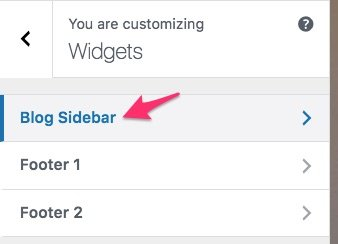 WordPress sidebars available