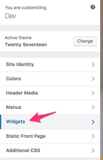 WordPress customizer, widgets link