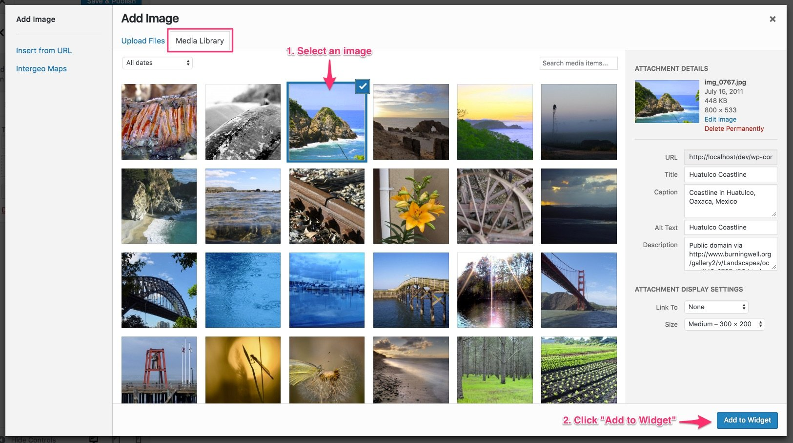 WordPress media library, selecting an image