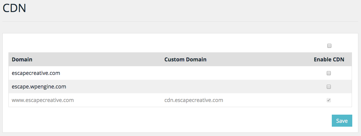 WP Engine's CDN setup in control panel