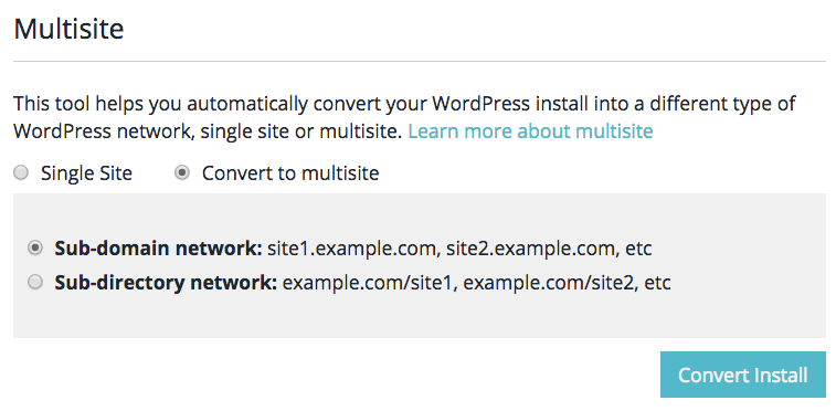 WP Engine convert to WordPress Multisite