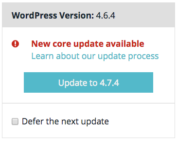 WP Engine's core update feature in control panel