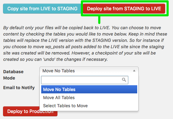 Deploying from STAGING to LIVE