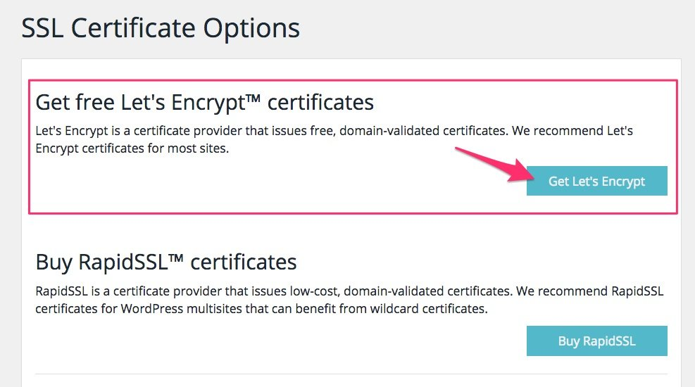WP Engine's get SSL button