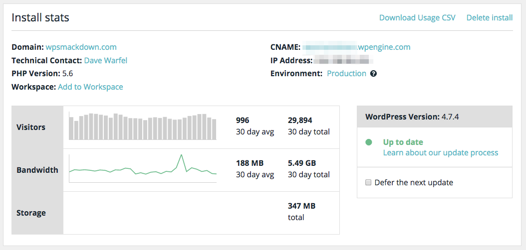 WP Engine stats in control panel