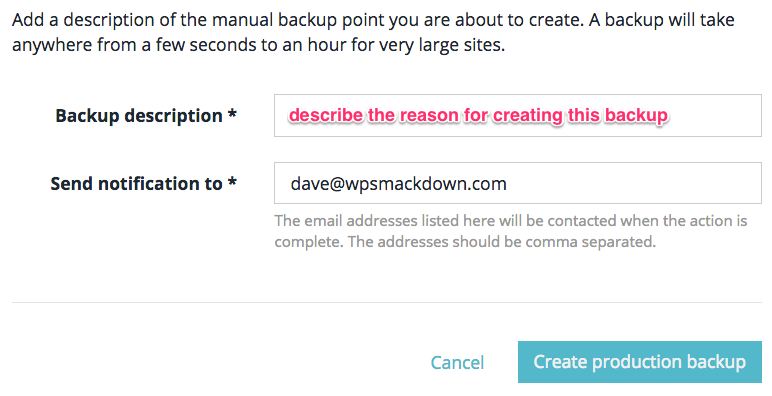 WP Engine backup notes