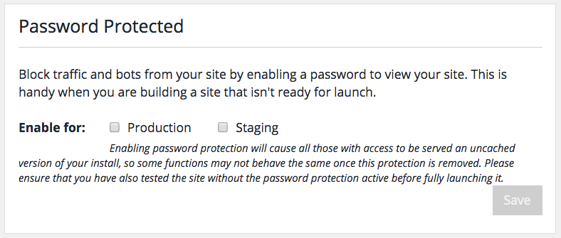 WP Engine's password protection feature