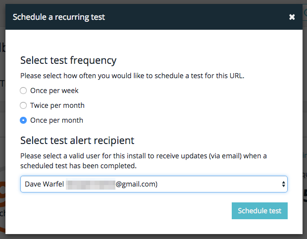 WP Engine performance test scheduling options