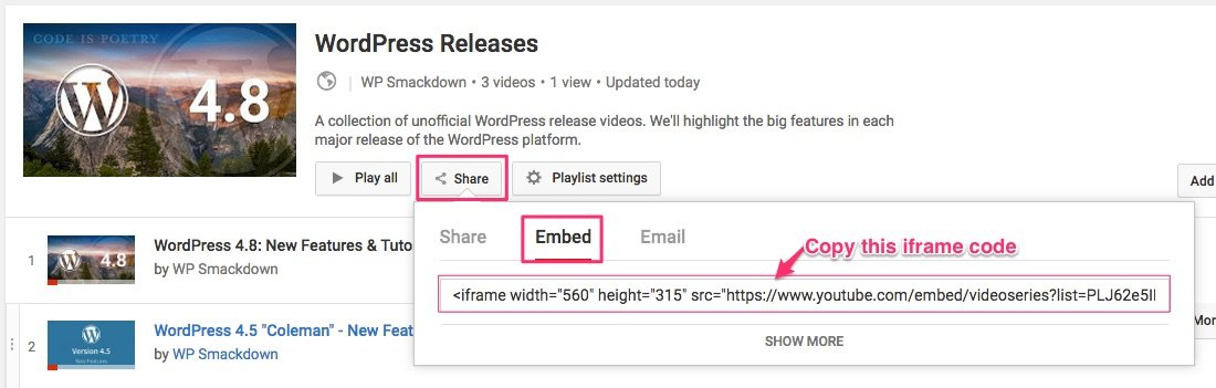 YouTube playlist embed/share iframe code