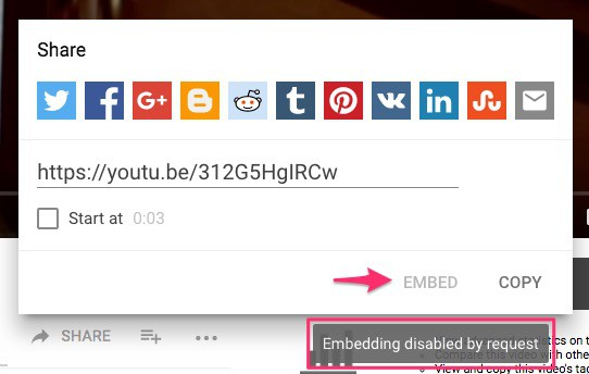 YouTube embed disabled