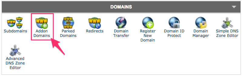 cPanel Addon Domains button