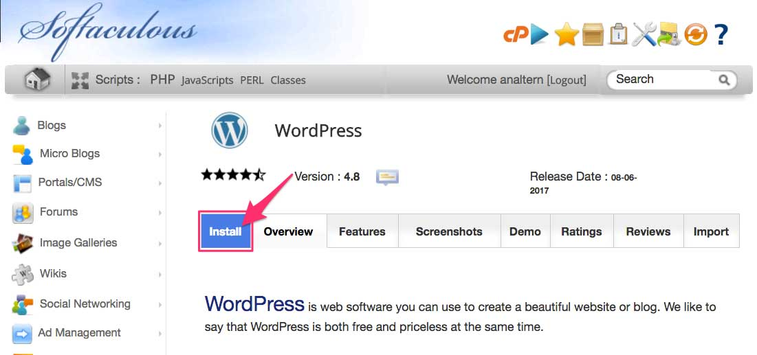 cPanel Softaculous Install WordPress Button