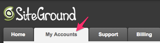 "SiteGround ""My Account"" tab"