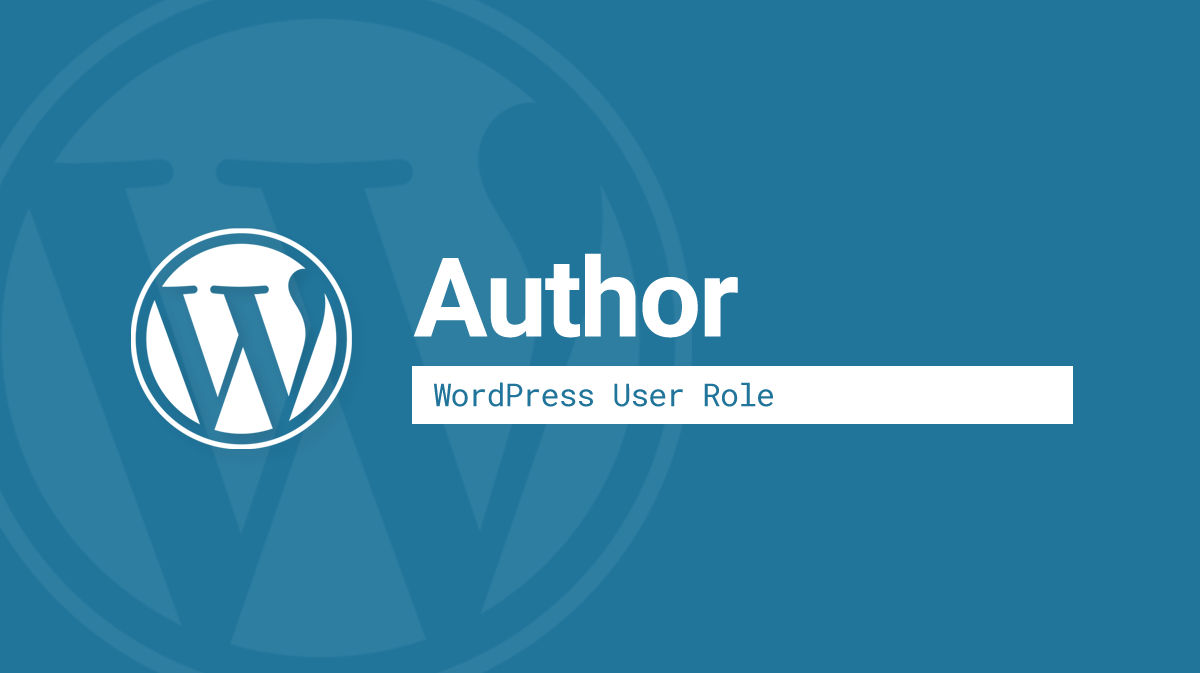 WordPress Author user role