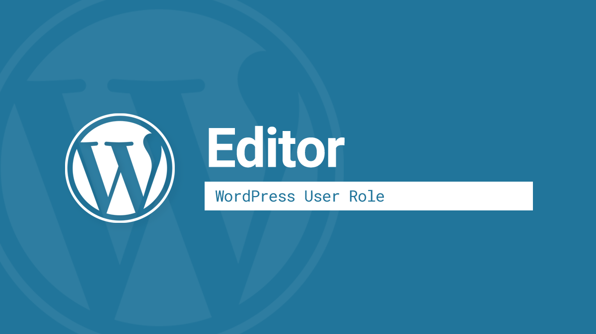 WordPress Editor user role