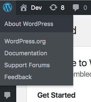 About WordPress in Toolbar