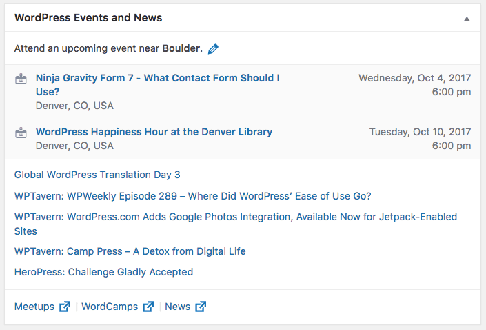 WordPress Events & News Dashboard Widget
