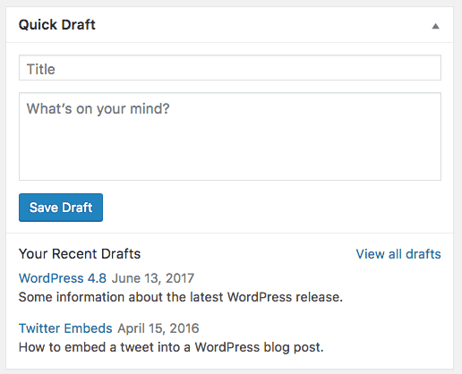 WordPress Quick Draft Dashboard Widget