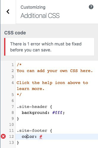 CodeMirror Custom CSS error message