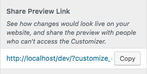 WordPress Customizer preview link