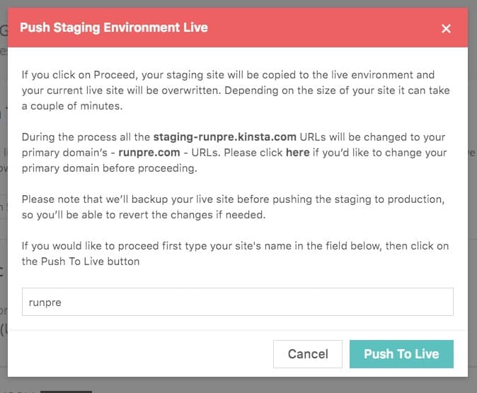 Kinsta hosting staging to live confirmation message
