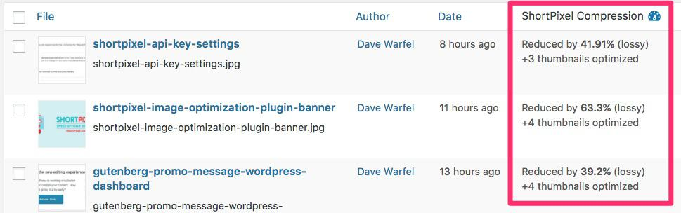 ShortPixel image compression details in WordPress admin
