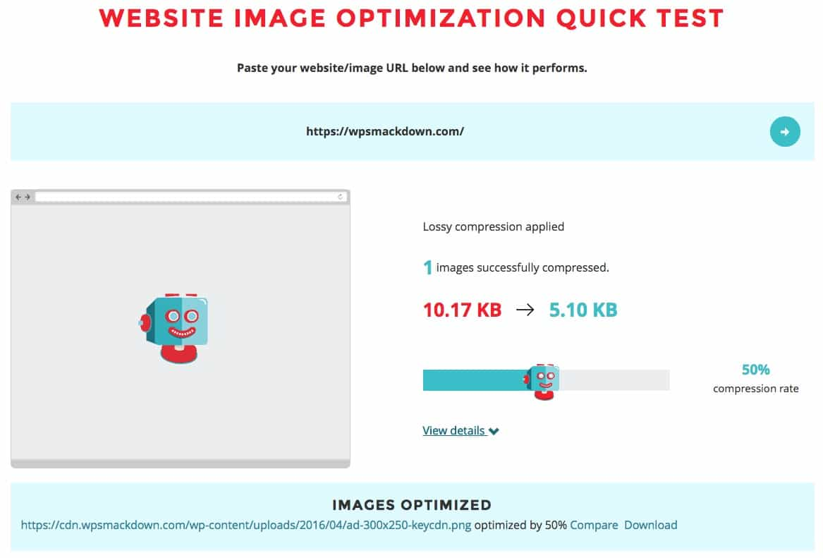 ShortPixel website optimization test