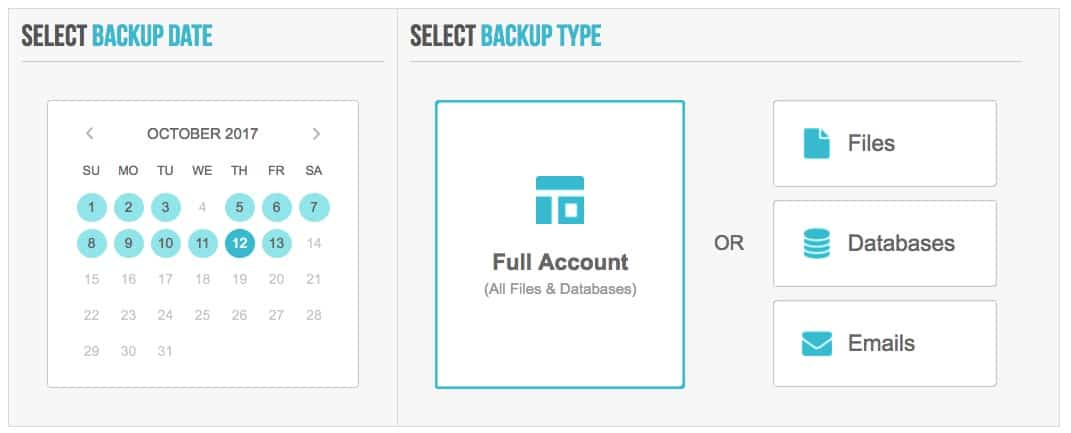 SiteGround backup restore options