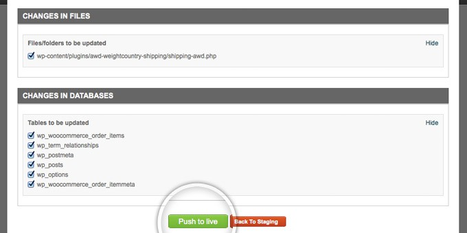 SiteGround staging advanced options