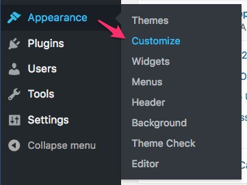 Appearance > Customize navigation