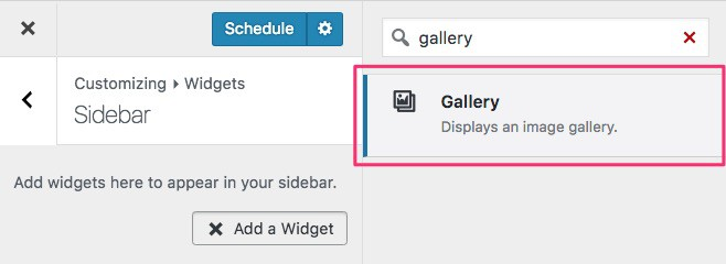 WordPress photo gallery widget