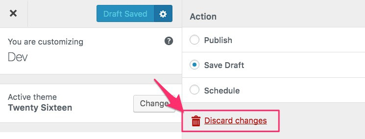 Discard changes link in WordPress Customizer
