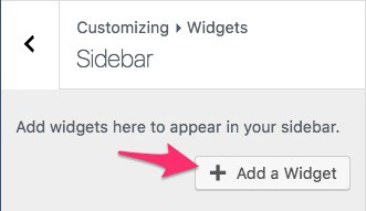 Add a Widget button in WordPress Customizer