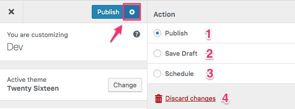 WordPress 4.9 publishing options
