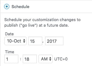 WordPress 4.9 Customizer scheduling options