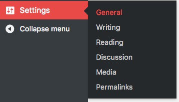 WordPress navigation to General Settings