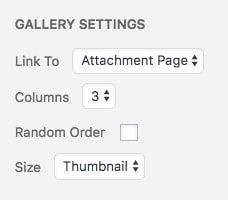 WordPress photo gallery settings
