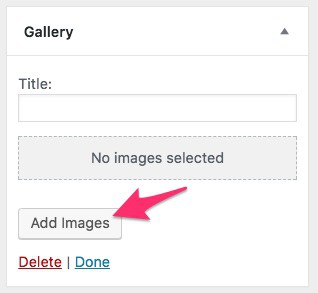 WordPress photo gallery widget, add photos button