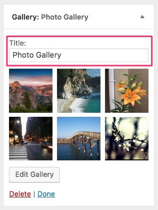 WordPress photo gallery widget title