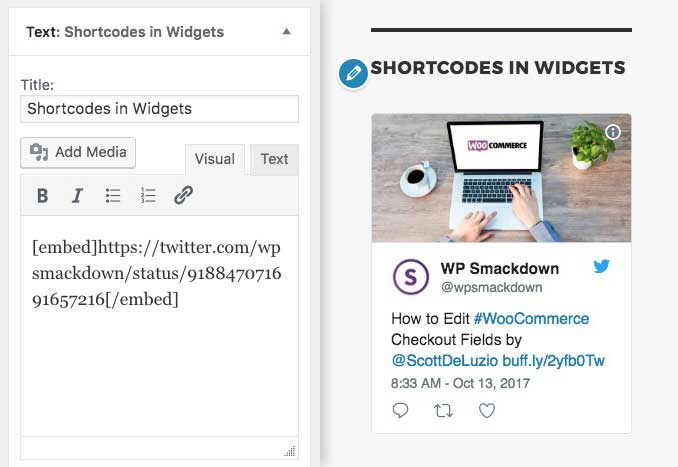 WordPress text widget supports shortcodes