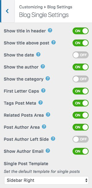 Shapely WordPress theme blog settings