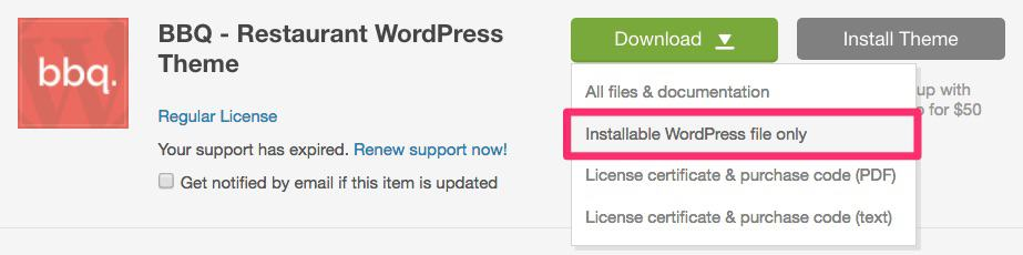 ThemeForest, download WordPress file only
