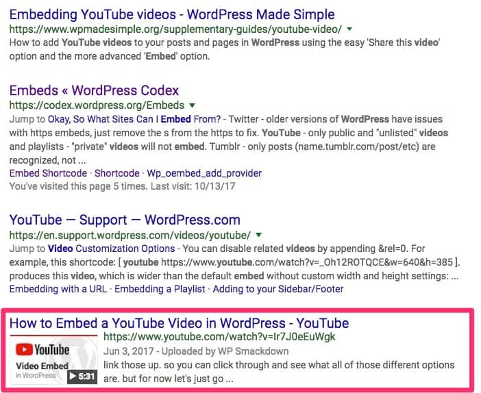 YouTube video on Google's SERP