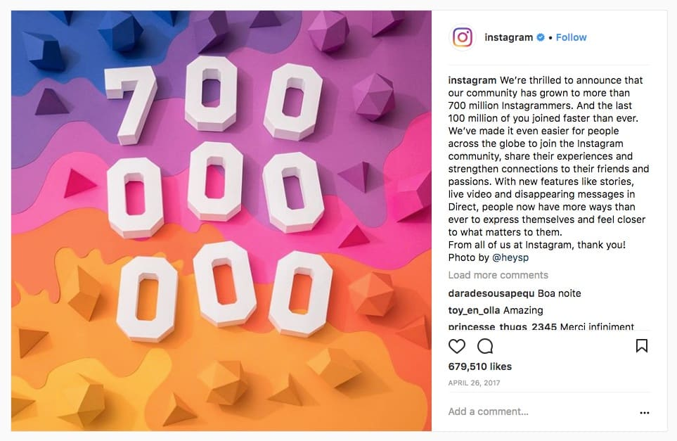 Instagram hits 700 million users