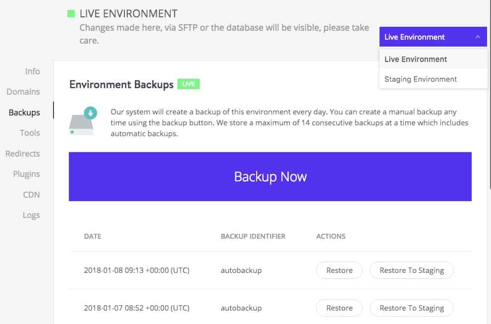 Kinsta backups in the dashboard area