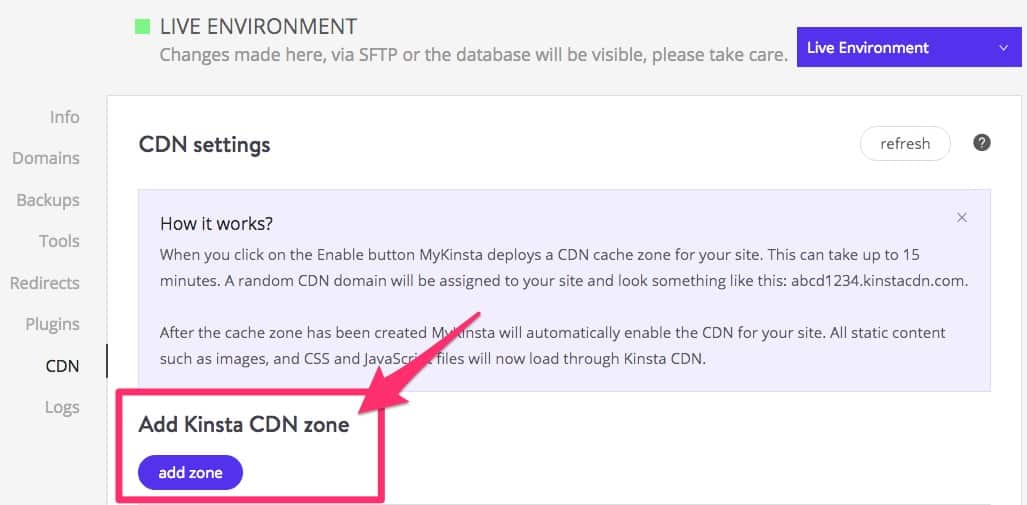 Kinsta CDN's add zone button